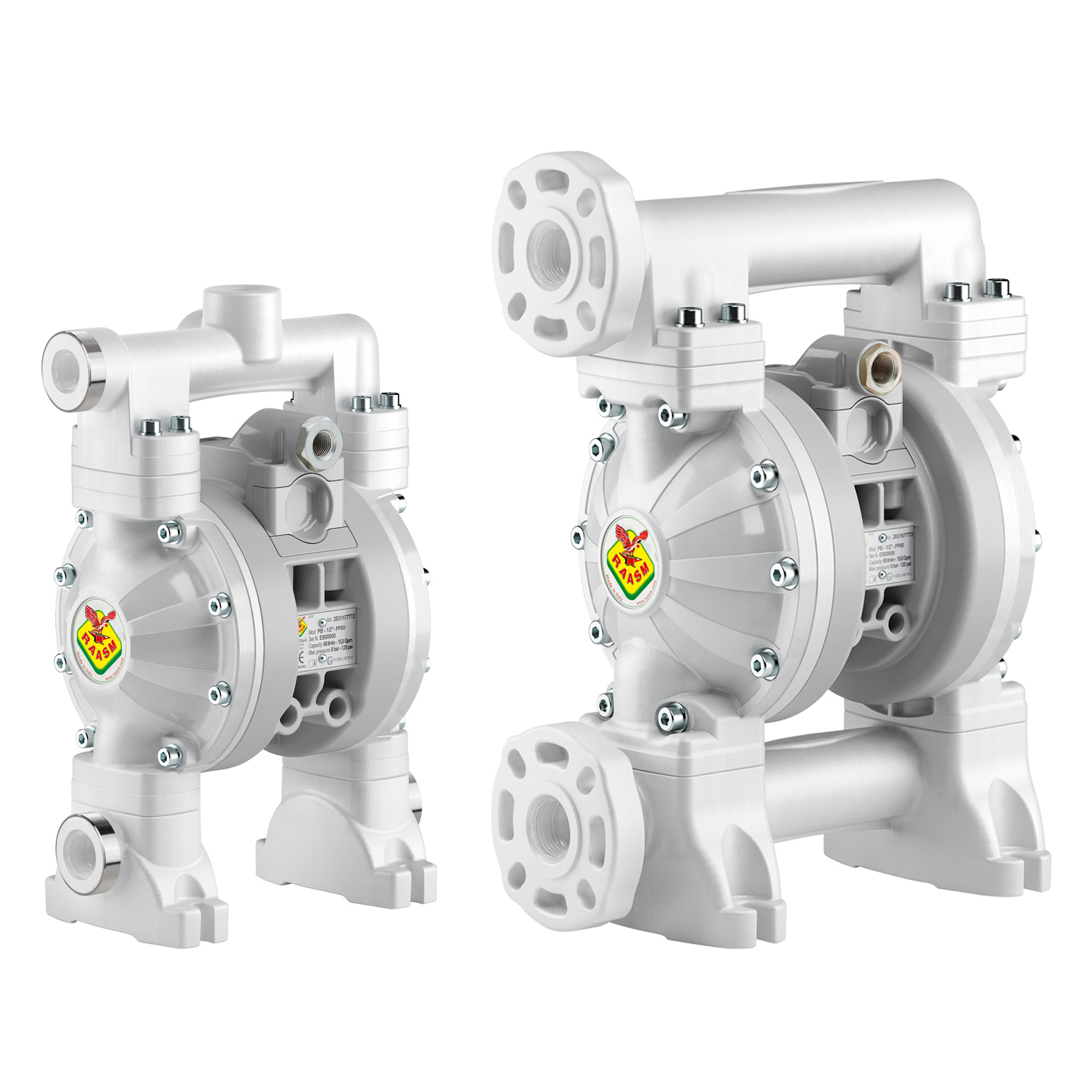 Diaphragm pumps - entirely in polypropylene